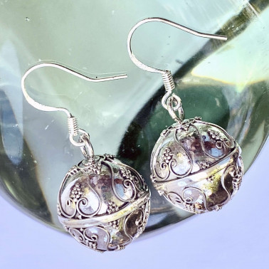 ER 11350-(HANDMADE 925 BALI SILVER SOUND HARMONY BALL EARRINGS 14 MM)